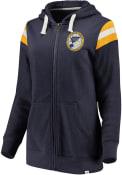 St Louis Blues Womens Retro Stripe Fleece Full Zip Jacket - Navy Blue