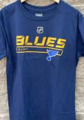 St Louis Blues Stencil T Shirt - Navy Blue