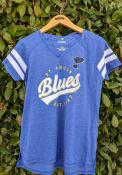St Louis Blues Womens Off the Boards Notch T-Shirt - Blue