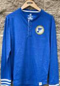 St Louis Blues True Classics Heathered Henley Fashion T Shirt - Blue