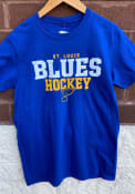 St Louis Blues Iconic Cotton Double Stack T Shirt - Blue