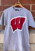 Wisconsin Badgers Primary Logo T Shirt - Grey