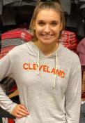 Cleveland Womens Grey Distressed Wordmark Long Sleeve Light Weight Hood