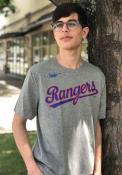 Texas Rangers Nike Coop Wordmark T Shirt - Grey