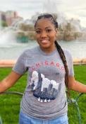 Bozz Prints Chicago Grey Skyline Circle Short Sleeve T Shirt