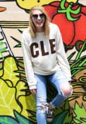 Cleveland Womens Oatmeal Block Cozy Long Sleeve Crew Sweatshirt