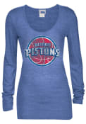 Detroit Pistons Womens Blue Tri-Blend Scoop Women's Scoop