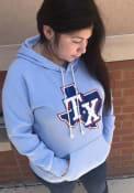 Texas Rangers Womens Triblend Hooded Sweatshirt - Light Blue