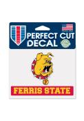 Ferris State Bulldogs 4.5x5.75 Perfect Cut Auto Decal - Red