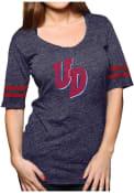 Original Retro Brand Dayton Flyers Juniors Scoop Navy Blue Scoop T-Shirt