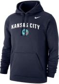 KC NWSL Nike Team Logo Hooded Sweatshirt - Navy Blue