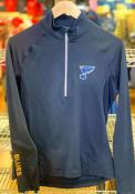 St Louis Blues Womens Levelwear Energy Wordmark Script 1/4 Zip - Navy Blue