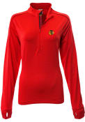 Chicago Blackhawks Womens Levelwear Pacer Aztext Script 1/4 Zip - Red