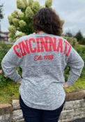 Cincinnati Women's Heather Grey Varsity Jersey Long Sleeve T-Shirt