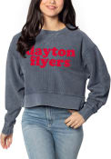 Dayton Flyers Womens Corded Boxy Crew Sweatshirt - Navy Blue