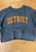Detroit Womens Boxy Pullover Crew Sweatshirt - Navy Blue