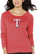 Texas Rangers Womens Distressed Cap Crew Sweatshirt - Red
