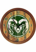 Colorado State Rams Weathered Faux Barrel Top Wall Clock