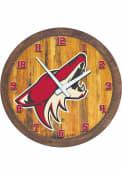 Arizona Coyotes Faux Barrel Top Wall Clock