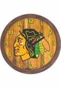 Chicago Blackhawks Faux Barrel Top Wall Clock