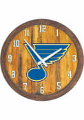 St Louis Blues Faux Barrel Top Wall Clock