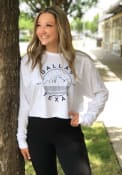 Dallas Women's White Starry Skyline Cropped Long Sleeve T Shirt