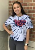Dayton Flyers Womens Tie Dye Campus Crop T-Shirt - Navy Blue