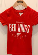 Detroit Red Wings Girls Red Youth Girls Fitted V-Neck T-Shirt