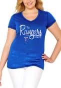 Texas Rangers Womens MultiCount Blue Short Sleeve Plus Tee