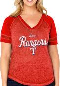 Texas Rangers Womens Curvy Vintage Red Short Sleeve Plus Tee