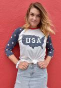 Americana White USA Map Raglan Sleeve T Shirt