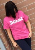 Detroit Pink Script Short Sleeve T Shirt