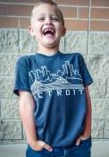 Detroit Youth Navy Skyline Glow Short Sleeve T Shirt