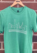Cleveland Heather Green Skyline Short Sleeve T Shirt