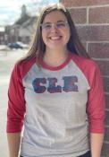 Cleveland Heather Grey CLE Block 3/4 Raglan T-Shirt