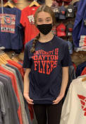 Dayton Flyers State Outline T Shirt - Navy Blue