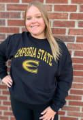 Emporia State Hornets Rally Fleece Arch Mascot Crew Sweatshirt - Black