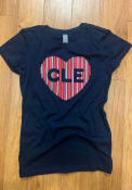 Cleveland Girls Heart T-Shirt - Navy Blue