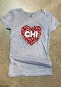 Chicago Girls Cheetah Heart T-Shirt - Grey