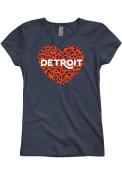 Detroit Girls Cheetah Heart T-Shirt - Navy Blue