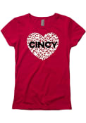 Cincinnati Girls Cheetah Heart T-Shirt - Red