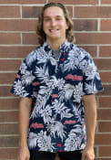 Cleveland Indians Aloha Dress Shirt - Navy Blue