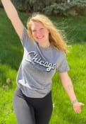 Chicago Rally Wordmark Over City Map Fashion T Shirt - Grey