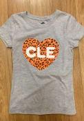 Cleveland Girls Rally Cheetah Heart T-Shirt - Grey