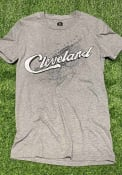 Cleveland Rally Wordmark Over City Map Fashion T Shirt - Grey