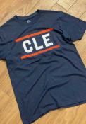 Cleveland Rally Block and Bars Fashion T Shirt - Navy Blue