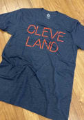 Cleveland Rally Disconnected Wordmark Fashion T Shirt - Navy Blue