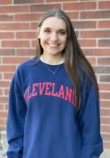 Cleveland Womens Arch Wordmark Crew Sweatshirt - Navy Blue