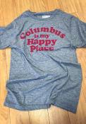 Rally Ohio Grey Columbus Is My Happy Place Short Sleeve T Shirt