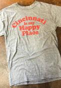Rally Cincinnati Grey Happy Place Short Sleeve T Shirt